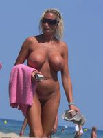 Mature Mom with Big Tits at the Beach Nude