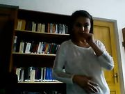 Playful Horny Girl Undresses in a Public Library