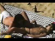 Nudist Mature Couple Filmed Voyeur Making Sex on Beach