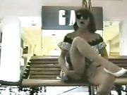 Mature Woman Plays with Pussy in Public