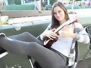 Cute Young Girl Flashing Tits and Pussy in Public Place
