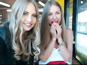 Two Cute Girls Flashing Tits in Public Place