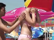 Romanian Beach Hot Girl with Great Big Tits Topless