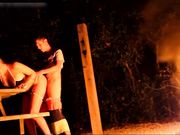 Young amateur couple fucking outdoor by the bonfire