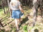 Beautiful blonde girlfriend sucks and fucks outdoor in the woods